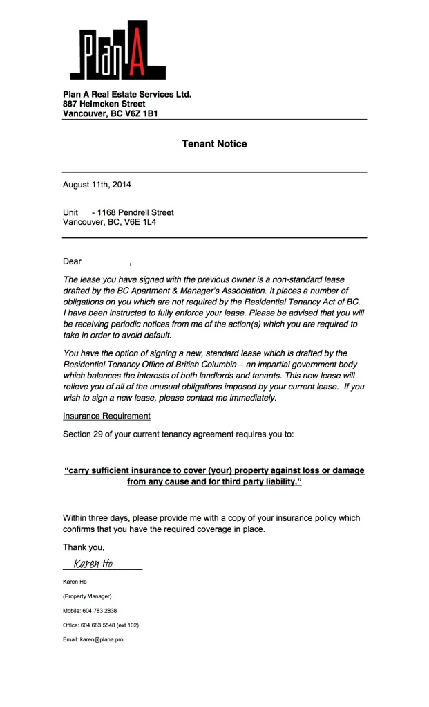 Tenant Notice - Insurance